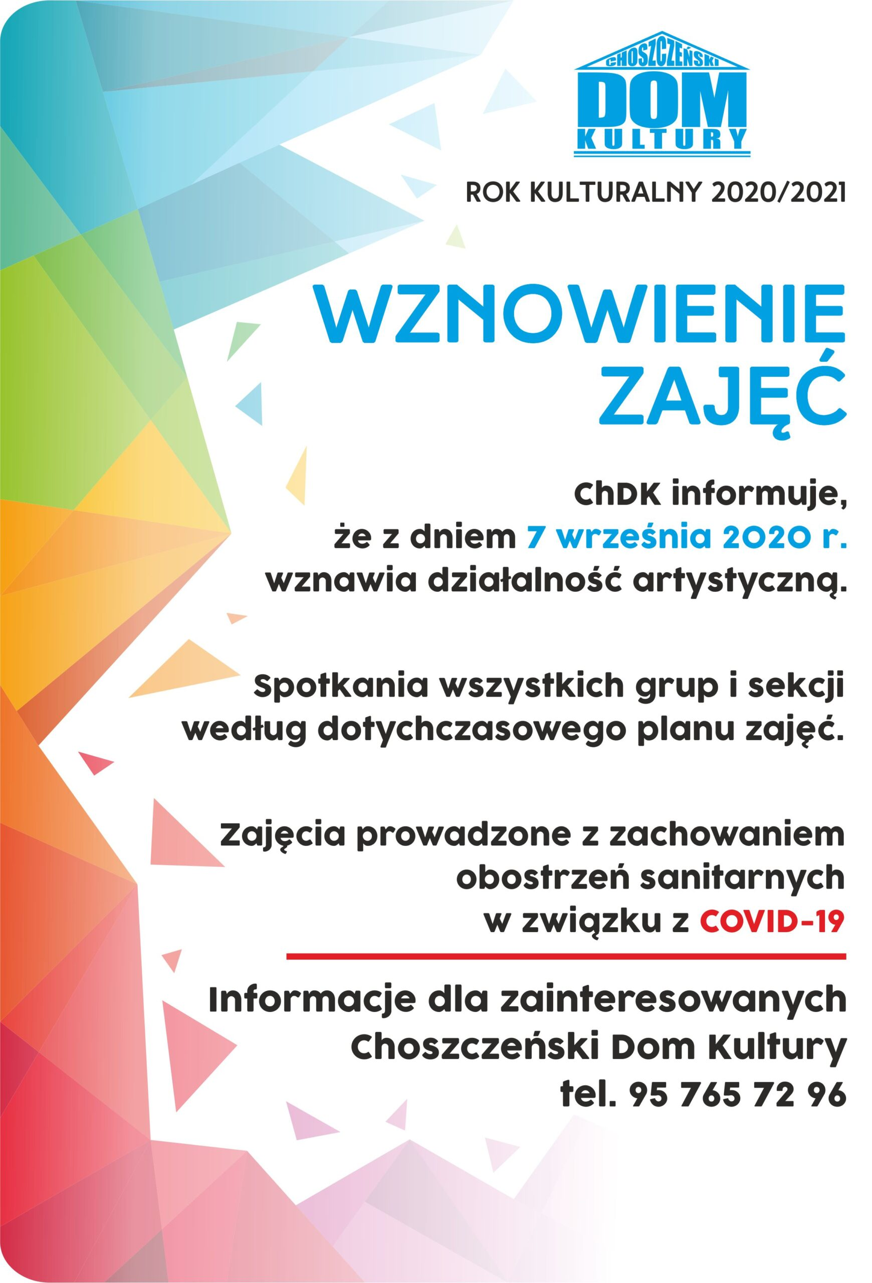 plakat wznowienie zajęć ChDK