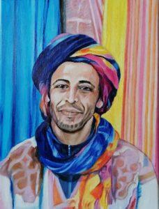 Autor: Mieczysław Wilczewski Tytuł: Berberyjski sprzedawca z Essaouiry (Maroko)